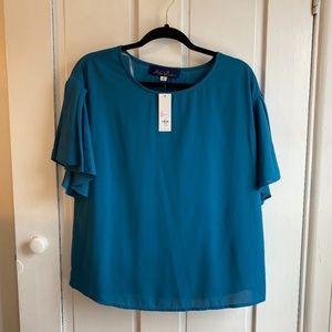 NWT Francesca's Blue Teal Ruffle Short Sleeve Top